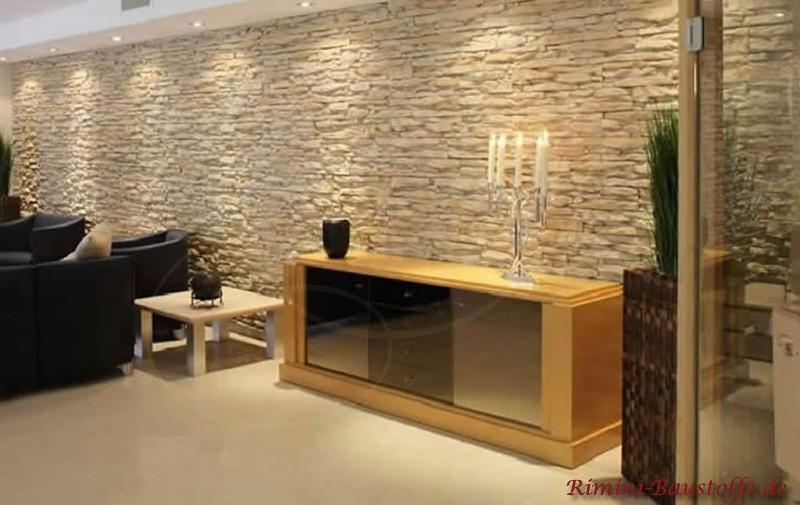 Delightful Elegant Eine Wohnzimmerwand In Heller Steinoptik Nice Ideas Images