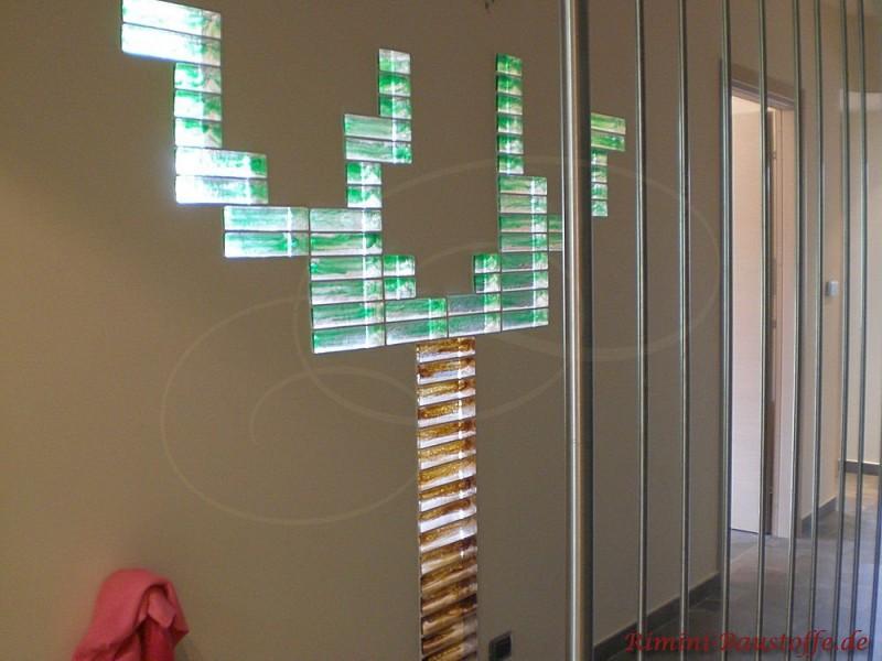 Muranoglaselemente in eine Mauer verbaut als Highlight in jedem Raum