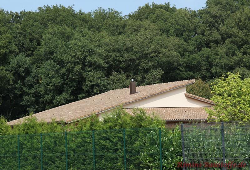antik wirkender romanischer Dachziegel auf einem großen Pultdach