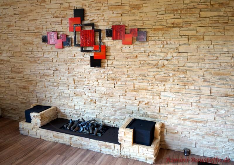 tolle moderne Wandgestaltung mit Paneele in Natursteinoptik
