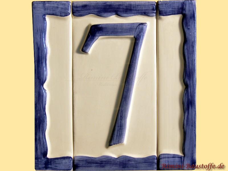 Hausnummer aus Ton individuell erweiterbar durch die separaten Ränder