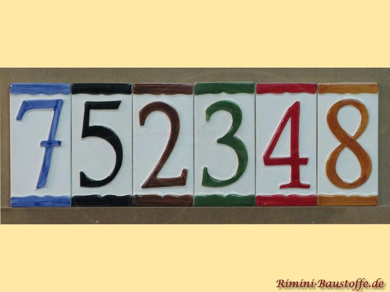 Hausnummern aus Ton in verschiedenen Farben individuell erhältlich