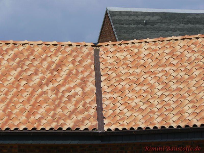 Hell geschecktes Dach, wo man auch eine Dachkehle geschnitten wurde