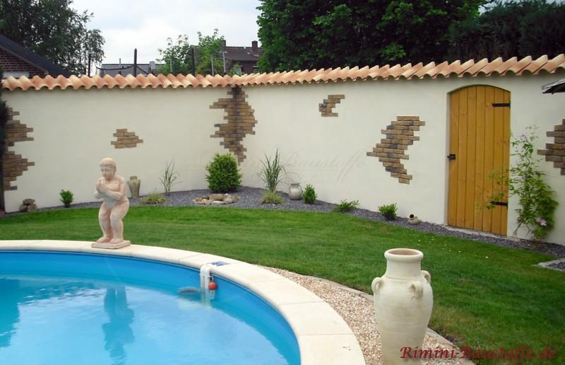 Fantastisch Amazing Romana Del Villaggio Farbe Provencale Fiammato Rossa With Mediterrane  Gartenmauer.