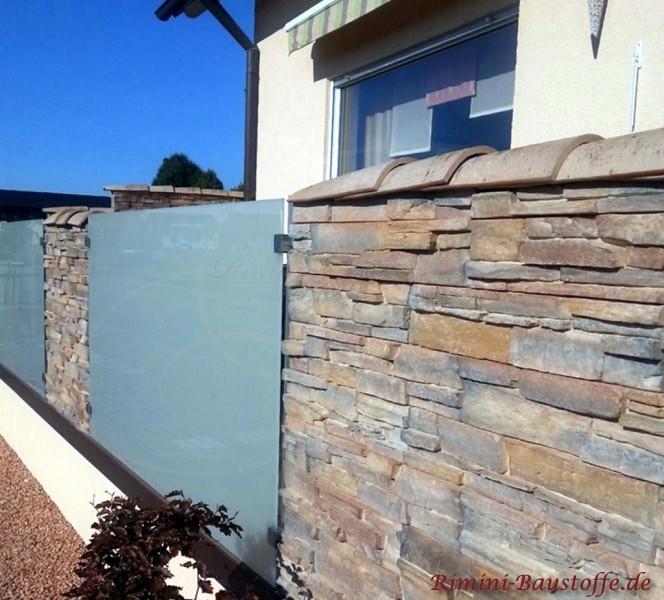 schmale Mauern kann man auch laengs mit einer Halbschale abdecken