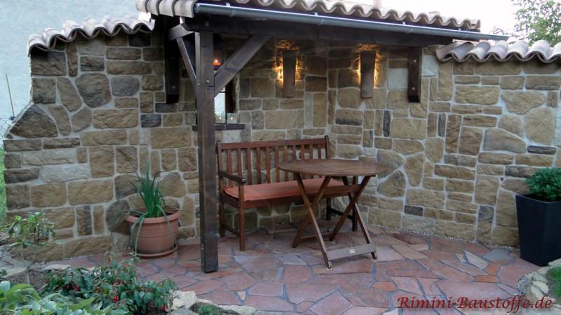riemchen caesar - mixed - mediterrane sitzecke mit einer mauer in, Garten und Bauen